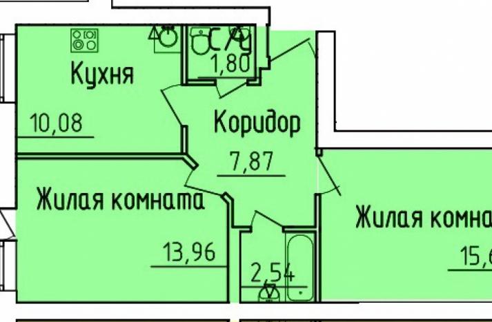 2 комнатная квартира №104