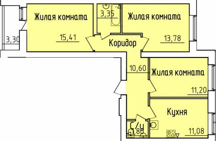 3 комнатная квартира №156