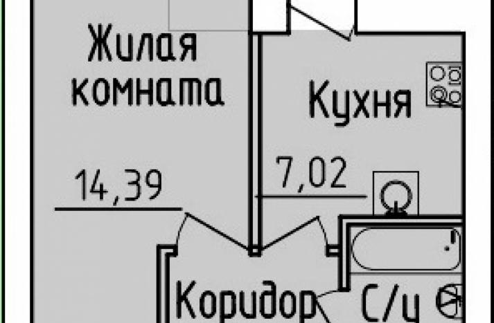 1 комнатная квартира №53